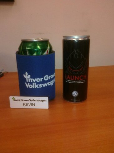 """Finally official! My name tag and a complimentary GTI """"Fast"""" Launch energy drink."""